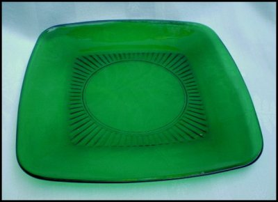 Fire King Forest Green Square Charm Luncheon Plate