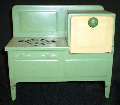 Toy Green/Cream Electric Cook Stove 1930's
