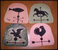 Vintage (4) Weather Vane Hooked Rug Chair Pads or Table Mats