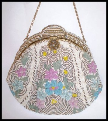 Victorian Floral Beaded Purse - Late 1800's