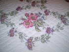 "Handmade Wild Rose Cross Stitch Quilt 82"" x 94"""